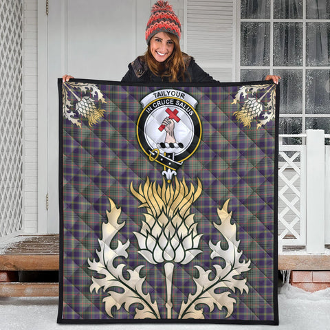 Image of Taylor Weathered Clan Crest Tartan Scotland Thistle Gold Royal Premium Quilt