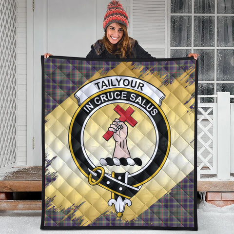 Image of Taylor Weathered Clan Crest Tartan Scotland Gold Royal Premium Quilt