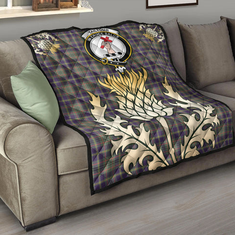 Image of Taylor Weathered Clan Crest Tartan Scotland Thistle Gold Royal Premium Quilt K9