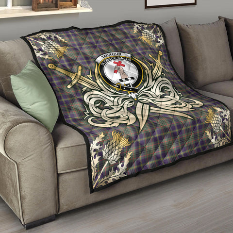 Image of Taylor Weathered Clan Crest Tartan Scotland Thistle Symbol Gold Royal Premium Quilt K9