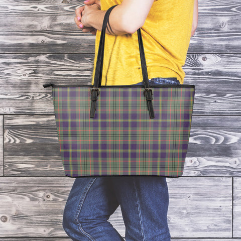 Taylor Weathered Tartan Leather Tote Bag (Large) | Over 500 Tartans | Special Custom Design