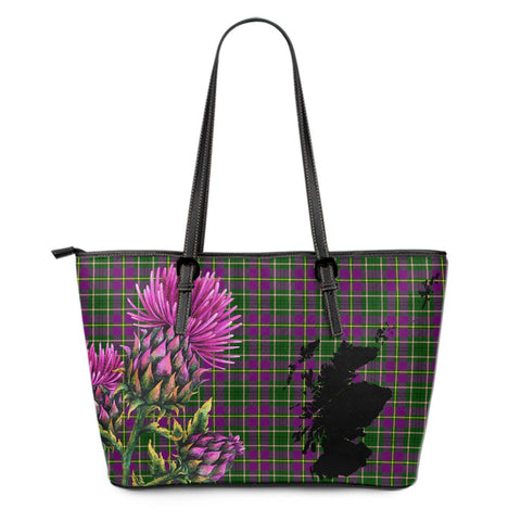 Taylor Weathered Tartan Leather Tote Bag Thistle Scotland Maps A91