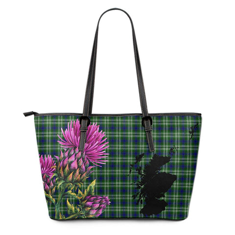 Tweedside District Tartan Leather Tote Bag Thistle Scotland Maps A91