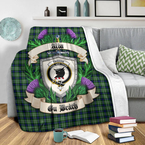 Tweedside District Crest Tartan Blanket Thistle  | Tartan Home Decor | Scottish Clan