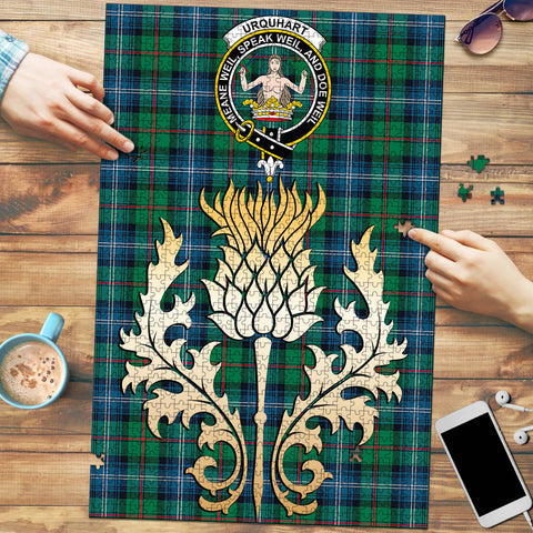 Urquhart Ancient Clan Crest Tartan Thistle Gold Jigsaw Puzzle