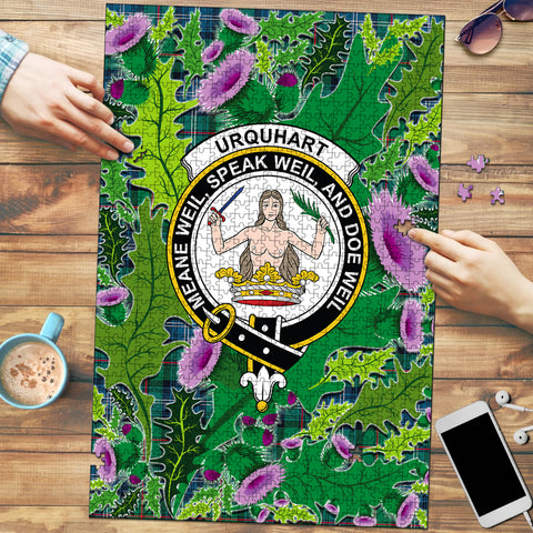 Urquhart Ancient Clan Crest Tartan Thistle Pattern Scotland Jigsaw Puzzle
