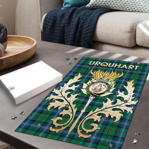 Urquhart Ancient Clan Name Crest Tartan Thistle Scotland Jigsaw Puzzle
