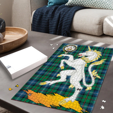 Urquhart Ancient Clan Crest Tartan Unicorn Scotland Jigsaw Puzzle