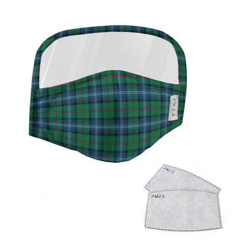 Urquhart Ancient Tartan Face Mask With Eyes Shield - Green & Blue  Plaid Mask TH8