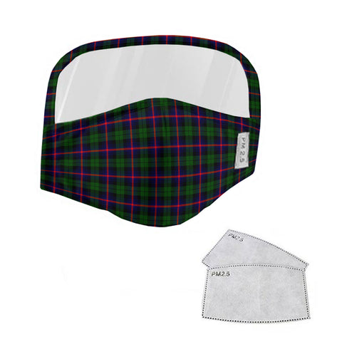 Urquhart Modern Tartan Face Mask With Eyes Shield - Green & Blue  Plaid Mask TH8