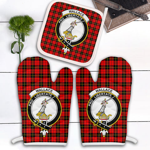 Wallace Hunting Red Clan Crest Tartan Scotland Oven Mitt And Pot-Holder (Set Of Two)