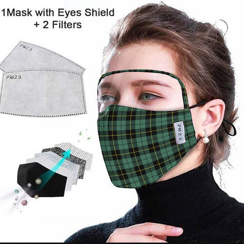 Wallace Hunting Ancient Tartan Face Mask With Eyes Shield - Green & Black  Plaid Mask TH8