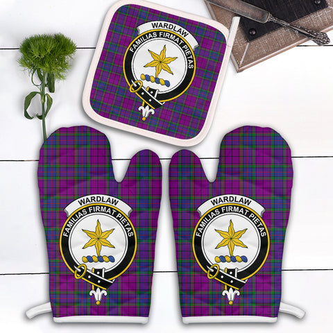 Wardlaw Modern Clan Crest Tartan Scotland Oven Mitt And Pot-Holder (Set Of Two)