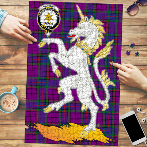 Image of Wardlaw Modern Clan Crest Tartan Unicorn Scotland Jigsaw Puzzle