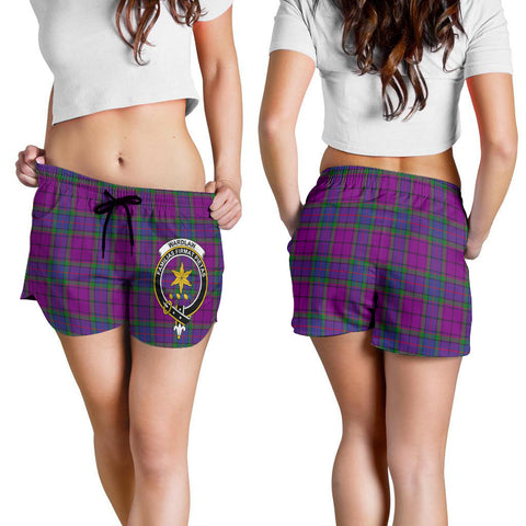 Wardlaw Modern Crest Tartan Shorts For Women K7