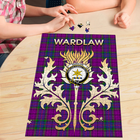 Image of Wardlaw Modern Clan Name Crest Tartan Thistle Scotland Jigsaw Puzzle