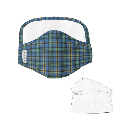 Weir Ancient Tartan Face Mask With Eyes Shield - Green & Blue  Plaid Mask TH8