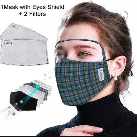 Image of Weir Ancient Tartan Face Mask With Eyes Shield - Green & Blue  Plaid Mask TH8