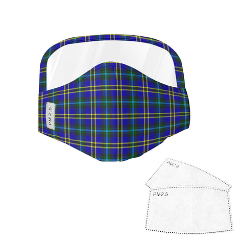 Weir Modern Tartan Face Mask With Eyes Shield - Green & Blue  Plaid Mask TH8