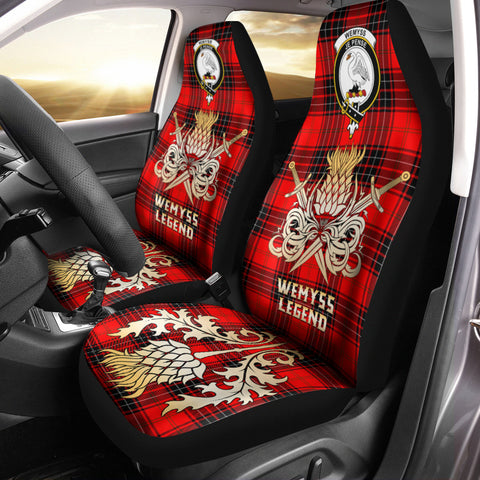 Car Seat Cover Wemyss Modern Clan Crest Gold Thistle Courage Symbol