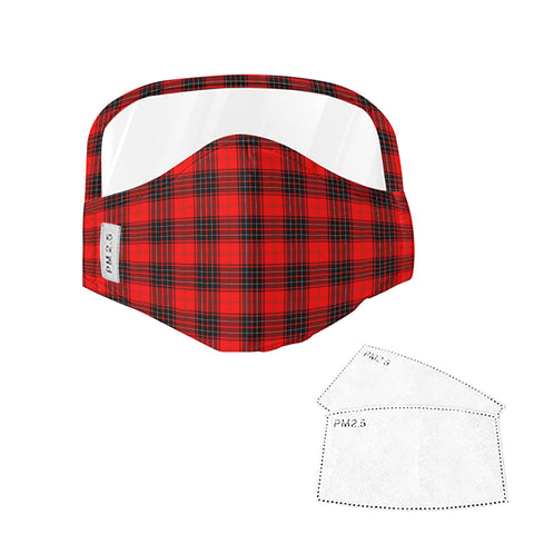 Wemyss Modern Tartan Face Mask With Eyes Shield - Red & Black  Plaid Mask TH8