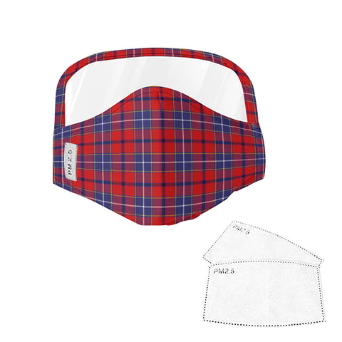 Wishart Dress Tartan Face Mask With Eyes Shield - Blue & Red  Plaid Mask TH8