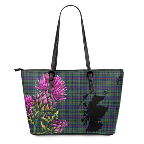 Wood Modern Tartan Leather Tote Bag Thistle Scotland Maps A91