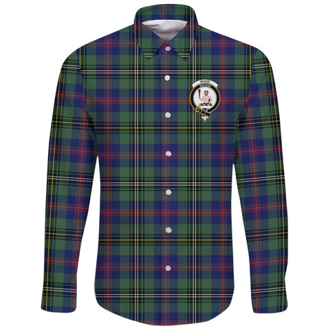 Wood Modern Tartan Clan Long Sleeve Button Shirt | Scottish Clan