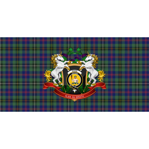 Image of Wood Modern Crest Tartan Tablecloth Unicorn Thistle A30