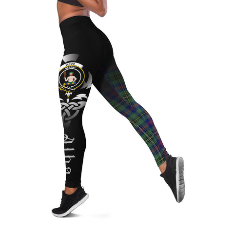 Wood Modern Crest Tartan Alba Celtic Leggings | Over 500 Tartans | Special Custom Design
