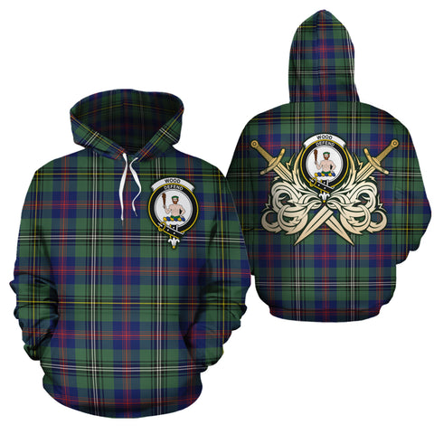 Wood Modern Clan Crest Tartan Scottish Gold Thistle Hoodie