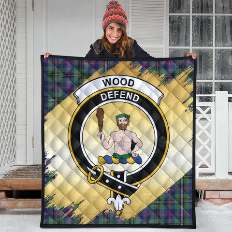 Wood Modern Clan Crest Tartan Scotland Gold Royal Premium Quilt
