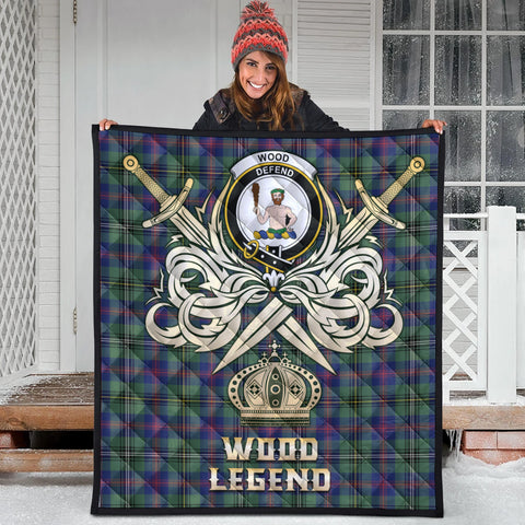 Wood Modern Clan Crest Tartan Scotland Clan Legend Gold Royal Premium Quilt