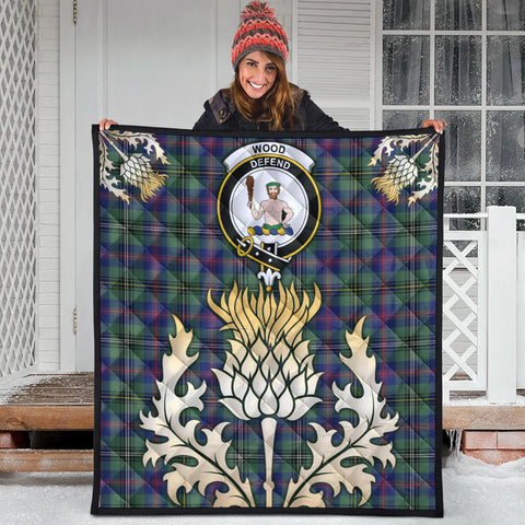 Wood Modern Clan Crest Tartan Scotland Thistle Gold Royal Premium Quilt