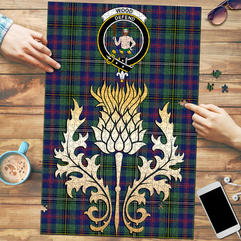 Image of Wood Modern Clan Crest Tartan Thistle Gold Jigsaw Puzzle