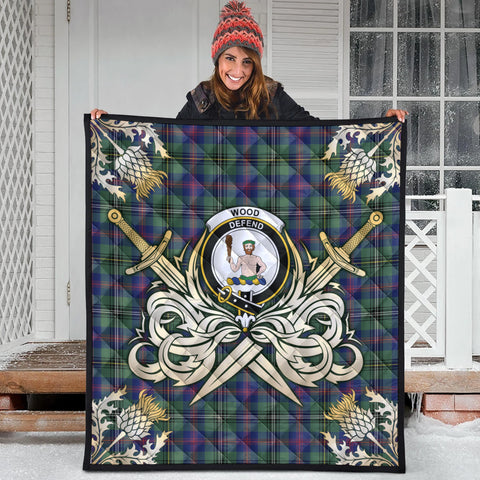 Wood Modern Clan Crest Tartan Scotland Thistle Symbol Gold Royal Premium Quilt