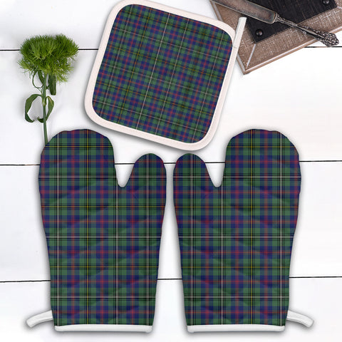 Wood Modern Clan Tartan Scotland Oven Mitt And Pot-Holder (Set Of Two)