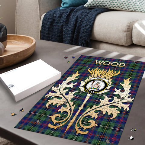 Wood Modern Clan Name Crest Tartan Thistle Scotland Jigsaw Puzzle