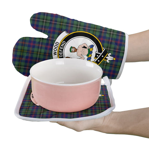 Wood Modern Clan Crest Tartan Scotland Oven Mitt And Pot-Holder (Set Of Two)