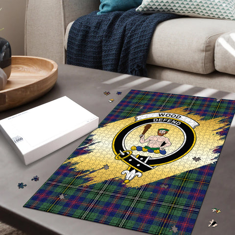 Image of Wood Modern Clan Crest Tartan Jigsaw Puzzle Gold