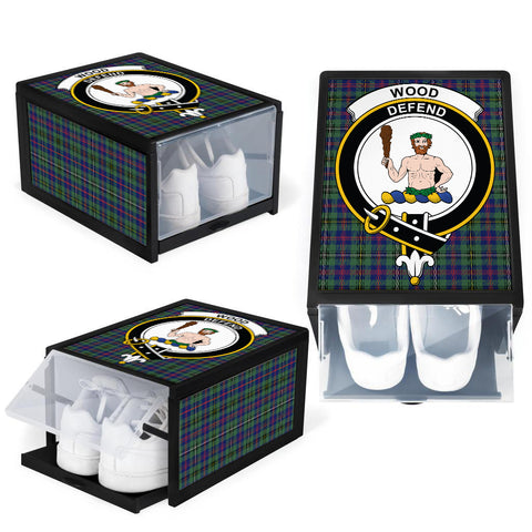Wood Modern Clan Crest Tartan Scottish Shoe Organizers K9