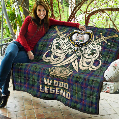 Wood Modern Clan Crest Tartan Scotland Clan Legend Gold Royal Premium Quilt K9
