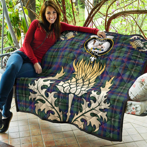 Wood Modern Clan Crest Tartan Scotland Thistle Gold Royal Premium Quilt K9
