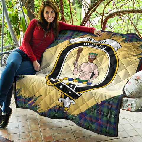 Wood Modern Clan Crest Tartan Scotland Gold Royal Premium Quilt K9