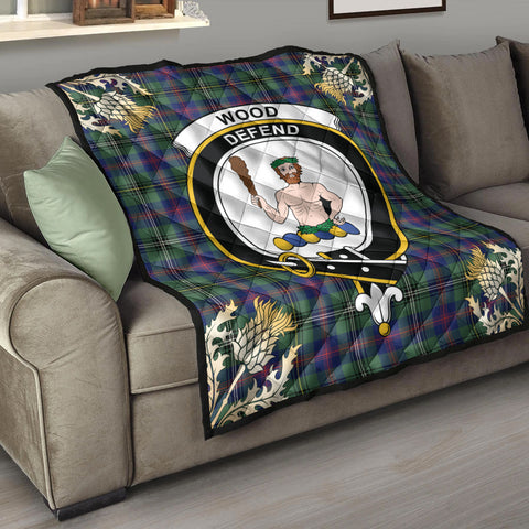 Image of Wood Modern Clan Crest Tartan Scotland Thistle Gold Pattern Premium Quilt K9