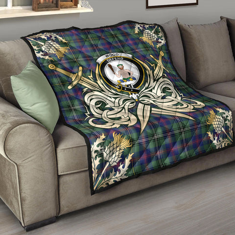 Wood Modern Clan Crest Tartan Scotland Thistle Symbol Gold Royal Premium Quilt K9
