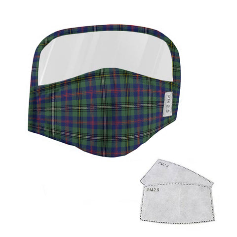 Wood Modern Tartan Face Mask With Eyes Shield - Blue & Green  Plaid Mask TH8