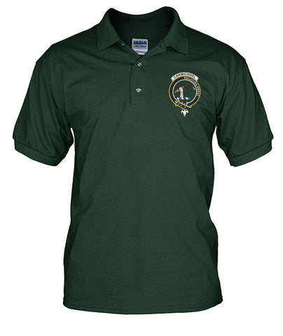 Image of Carmichael Tartan Polo Shirt In Me Clan Badge K7