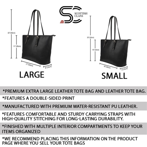 Stewart Dress Modern Tartan Leather Tote Bag (Small) | Over 500 Tartans | Special Custom Design