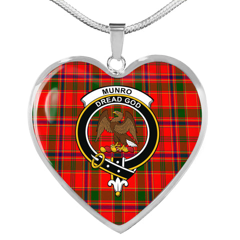 Image of Munro Modern Tartan Crest Heart Necklace HJ4 (Backside Engraved is not available now)